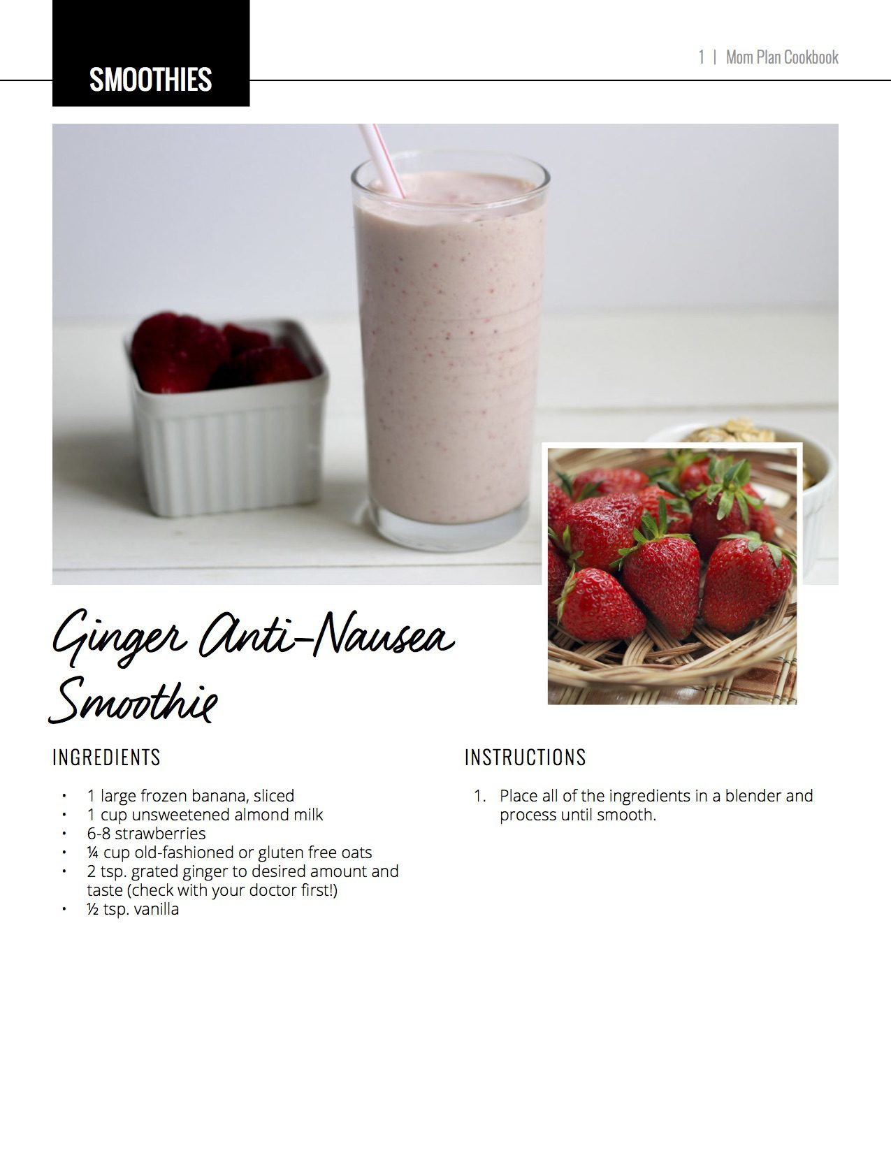 ginger anti-nausea smoothie prenatal