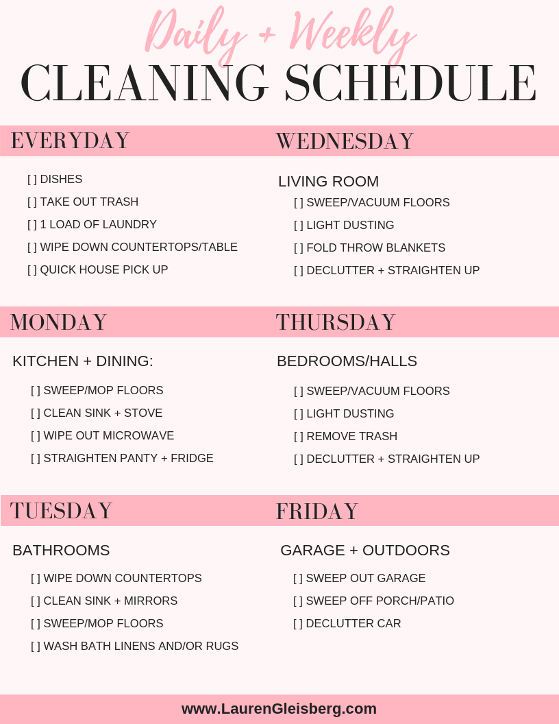 daily home cleaning checklist